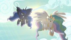 Size: 1811x1019 | Tagged: safe, screencap, princess celestia, princess luna, alicorn, pony, between dark and dawn, backlighting, cloud, crown, discovery family logo, ethereal mane, female, flying, hoof shoes, jewelry, mare, peytral, regalia, royal sisters, sky, spread wings, starry mane, wings