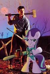 Size: 500x750 | Tagged: artist:ejlightning007arts, ash williams, axe, chainsaw, clothes, crossover, evil dead, gun, human, pony, safe, standing on hindlegs, starlight glimmer, torn clothes, unicorn, weapon