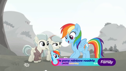 Size: 1920x1080 | Tagged: safe, screencap, barley barrel, pickle barrel, rainbow dash, pegasus, pony, rainbow roadtrip, barrel twins, colt, discovery family logo, female, filly, male, siblings, twins