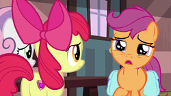 Size: 1920x1080 | Tagged: safe, screencap, apple bloom, scootaloo, sweetie belle, earth pony, pegasus, pony, unicorn, the last crusade, bow, crying, cutie mark, cutie mark crusaders, female, filly, frown, hair bow, sad, saddle bag, teary eyes, the cmc's cutie marks, train station