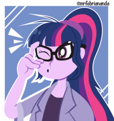 Size: 4532x4812 | Tagged: artist:febriananda, clothes, digital art, equestria girls, female, glasses, :o, one eye closed, open mouth, ponytail, safe, sci-twi, shirt, solo, twilight sparkle