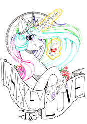Size: 2448x3507 | Tagged: safe, artist:longinius, princess celestia, alicorn, alcohol, banner, bust, crossed hooves, crown, flower, jewelry, looking at you, magic, portrait, regalia, rose, text, whiskey