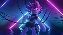 Size: 1920x1080   Tagged: safe, artist:shad0w-galaxy, twilight sparkle, alicorn, bipedal, cyberpunk, female, harness, lindsey stirling, neon, patreon, patreon logo, signature, solo, song reference, tack, twilight sparkle (alicorn), underground, wallpaper, wires