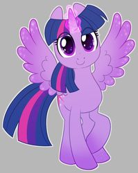 Size: 800x1006 | Tagged: safe, artist:shadeysix, twilight sparkle, alicorn, pony, cute, eye clipping through hair, female, glowing horn, gray background, horn, looking at you, magic, magic aura, mare, simple background, solo, sparkly eyes, spread wings, twiabetes, twilight sparkle (alicorn), wingding eyes, wings
