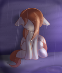 Size: 3600x4200 | Tagged: safe, artist:nevaylin, oc, oc only, oc:nevaylin, pegasus, pony, floppy ears, looking down, rain, sad, sitting, solo, wet, wet mane