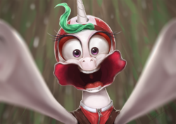 Size: 1200x850 | Tagged: alicorn, artist:assasinmonkey, between dark and dawn, faic, female, funny face, harness, majestic as fuck, mare, motion blur, open mouth, pony, princess celestia, safe, scene interpretation, solo, spoiler:s09e13, tack, uvula, zipline