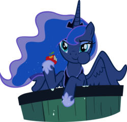 Size: 3000x2895 | Tagged: alicorn, apple, artist:supermatt314, bucket, crown, cute, eating, ethereal mane, female, food, hoof hold, hoof shoes, jewelry, lunabetes, luna eclipsed, mare, pony, princess luna, puffy cheeks, regalia, safe, simple background, solo, spread wings, transparent background, vector, water, wings