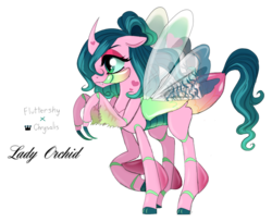 Size: 991x807 | Tagged: safe, artist:unoriginai, oc, oc only, oc:lady orchid, changeling, changepony, hybrid, birthmark, cute, heart mark, interspecies offspring, magical lesbian spawn, mantis, offspring, parent:fluttershy, parent:queen chrysalis, parents:chrysashy, simple background, text, transparent background