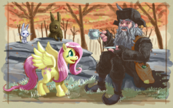 Size: 900x563 | Tagged: angel bunny, animal, artist:thegrandhero, crossover, fluttershy, forest, middle earth, rabbit, radagast, radagast the brown, safe, tree