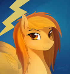 Size: 1500x1596 | Tagged: artist:sierraex, blue background, loose hair, pony, safe, simple background, solo, spitfire