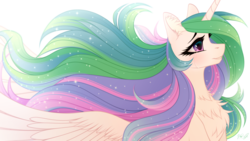 Size: 1920x1080 | Tagged: alicorn, artist:vird-gi, beautiful, chest fluff, crying, ear fluff, female, flowing mane, mare, pony, princess celestia, safe, smiling, solo, spread wings, tears of joy, wings