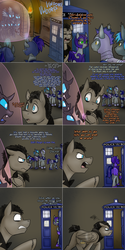 Size: 1502x3006   Tagged: safe, artist:jitterbugjive, doctor whooves, time turner, oc, oc:pun, oc:torin, oc:westwood, bat pony, changeling, earth pony, pegasus, pony, ask pun, agent 707, armor, ask, discord whooves, doctor who, female, magic, mare, night guard, night guard armor, race swap, tardis