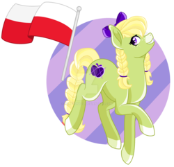Size: 1280x1233 | Tagged: artist:pokeponyeq, bow, deviantart watermark, earth pony, female, flag, hair bow, mare, obtrusive watermark, oc, oc:apple pattern, offspring, parent:applejack, parents:trenderjack, parent:trenderhoof, poland, pony, safe, solo, watermark