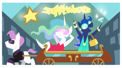 Size: 1920x1080 | Tagged: safe, screencap, princess celestia, princess luna, alicorn, earth pony, pony, between dark and dawn, spoiler:s09e13, applewood, bracelet, clothes, diamond, dress, female, jewelry, male, mare, pointy ponies, royal sisters, shoulder bag, stallion, sunglasses