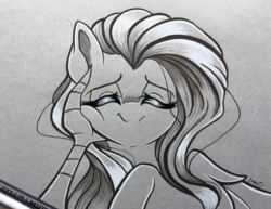 Size: 3833x2958 | Tagged: artist:emberslament, blushing, bust, colored pencil drawing, cute, discord, discoshy, eyes closed, female, fluttershy, full face view, male, mare, monochrome, offscreen character, pegasus, pony, safe, scene interpretation, shipping, smiling, spoiler:s09e01, spoiler:s09e02, squishy cheeks, straight, the beginning of the end, traditional art