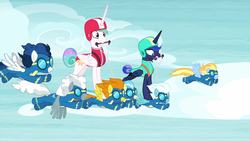 Size: 1920x1080 | Tagged: safe, screencap, blaze, fleetfoot, high winds, lightning streak, misty fly, princess celestia, princess luna, silver lining, silver zoom, alicorn, pegasus, pony, between dark and dawn, barehoof, clothes, excited, exhausted, female, flying, folded wings, goggles, helmet, horse riding a horse, male, mare, ponies riding ponies, royal sisters, spread wings, stallion, tail bun, uniform, vacation, wings, wonderbolts, wonderbolts uniform