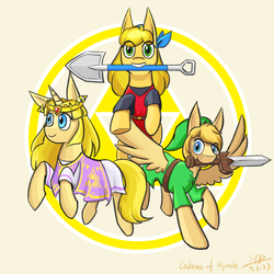 Size: 1000x1000 | Tagged: artist:sunnytp, cadence (crypt of the necrodancer), cadence of hyrule, clothes, crown, crypt of the necrodancer, cute, earth pony, jewelry, link, pegasus, ponified, pony, princess zelda, safe, shovel, skirt, sword, the legend of zelda, triforce, tunic, unicorn, weapon