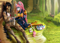 Size: 4000x2873 | Tagged: anthro, anthro oc, artist:whisperira, bandage, blood, clothes, female, grass, long tail, male, mare, medic, oc, oc only, oc:rosie quartz, pegasus, saddle arabian, safe, stallion, tree, unicorn, wounded warriors