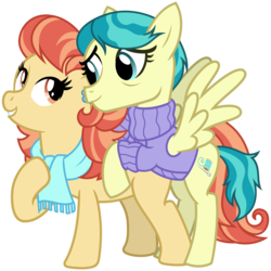Size: 3200x3200 | Tagged: safe, artist:cheezedoodle96, aunt holiday, auntie lofty, earth pony, pegasus, pony, the last crusade, .svg available, clothes, couple, eye contact, female, hoof on chest, hug, lesbian, lofty day, looking at each other, mare, rearing, scarf, shipping, simple background, spread wings, svg, sweater, transparent background, vector, wings