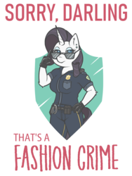 Size: 750x1000 | Tagged: anthro, artist:doggonepony, breasts, caption, cleavage, darling, fashion crime, fashion police, female, police uniform, rarity, safe, solo, sunglasses, unicorn