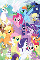 Size: 2107x3160 | Tagged: safe, seven seas, angel bunny, apple bloom, applejack, derpy hooves, discord, fluttershy, gummy, opalescence, pinkie pie, princess celestia, princess luna, rainbow dash, rarity, scootaloo, spike, starlight glimmer, sweetie belle, tank, trixie, twilight sparkle, winona, alicorn, alligator, cat, dog, draconequus, dragon, earth pony, pegasus, pony, rabbit, tortoise, unicorn, my little pony: the manga, my little pony: the manga volume 1, adorabloom, angelbetes, animal, apple bloom's bow, applejack's hat, bipedal, bow, cape, clothes, cowboy hat, crown, cute, cutealoo, cutie mark crusaders, dashabetes, derpabetes, diapinkes, diasweetes, discute, featured image, female, filly, food, freckles, glimmerbetes, gummybetes, hair bow, hat, heart eyes, implied shipping, implied sparity, implied straight, in love, jackabetes, jewelry, looking at you, male, mane seven, mane six, mare, muffin, not amused face, one eye closed, opalbetes, opalescence is not amused, open mouth, pet six, raribetes, regalia, shipping, shyabetes, smiling, sparity, spikabetes, stetson, straight, tankabetes, trixie's cape, trixie's hat, twiabetes, twilight sparkle (alicorn), wall of tags, wingding eyes, wink, winonabetes