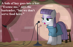 Size: 924x594 | Tagged: cropped, earth pony, edit, edited screencap, joke, maud pie, maud the comedian, microphone, pony, pun, safe, screencap, speech, spotlight, the maud couple