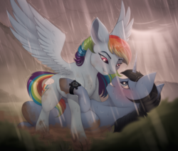 Size: 2600x2200 | Tagged: safe, artist:evehly, rainbow dash, oc, oc:night rain, pegasus, pony, unicorn, blushing, canon x oc, cloud, dashrain, duo, fanfic art, female, grass, lidded eyes, looking at each other, male, mud, nervous, outdated design, pinned, rain, raincloud, smiling, spread wings, stallion, sunlight, watch, wings, wristwatch