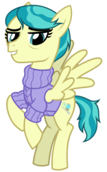 Size: 2000x3200 | Tagged: artist:cheezedoodle96, auntie lofty, clothes, female, flying, looking at you, mare, pegasus, pony, safe, simple background, smiling, solo, spoiler:s09e12, svg, .svg available, sweater, the last crusade, transparent background, vector