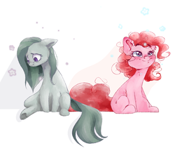 Size: 5000x4365 | Tagged: safe, artist:colorochka, marble pie, pinkie pie, earth pony, pony, duo, ear fluff, female, flower, leg fluff, mare, pie sisters, pie twins, sad, siblings, simple background, sisters, sitting, smiling, twin sisters, twins, white background