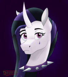 Size: 2006x2281 | Tagged: safe, artist:discbreaker100, princess celestia, pony, between dark and dawn, spoiler:s09e13, alternate hairstyle, bust, collar, curved horn, dyed mane, edgy, emo, emolestia, goth, head only, horn, portrait, punklestia, solo, speedpaint available, spiked collar, teardrop
