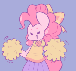 Size: 899x845 | Tagged: safe, artist:typhwosion, pinkie pie, anthro, ambiguous facial structure, beady eyes, bow, cheerleader, cheerleader outfit, cheerleader pinkie, clothes, cute, diapinkes, female, hair bow, moe, open mouth, pleated skirt, pom pom, purple background, simple background, skirt, solo