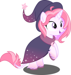 Size: 6455x6770   Tagged: safe, artist:babyroxasman, oc, oc:stardust, classical unicorn, pony, unicorn, clothes, cloven hooves, cute, feathered fetlocks, female, hat, leonine tail, mare, robe, simple background, solo, transparent background, unshorn fetlocks, vector, witch hat
