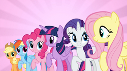 Size: 2560x1440 | Tagged: alicorn, applejack, fame and misfortune, female, flawless, fluttershy, looking at each other, mane six, mare, pinkie pie, pony, rainbow dash, raised hoof, rarity, safe, screencap, smiling, twilight sparkle, twilight sparkle (alicorn), we're not flawless