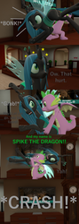 Size: 1920x5400 | Tagged: 3d, artist:papadragon69, bonk, choose your own adventure, circling stars, comic, comic:spike's cyosa, crash, crystal empire, dodge, dragon, fight, grandfather clock, male, older, older spike, ouch, queen chrysalis, reference, safe, source filmmaker, spike, sports, suplex, teenager, teenage spike, winged spike, wrestling