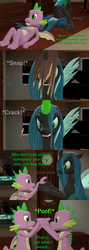 Size: 1920x5400 | Tagged: 3d, angry, artist:papadragon69, changeling, changeling magic, changeling queen, choose your own adventure, comic, comic:spike's cyosa, crystal empire, disguise, disguised changeling, dragon, female, fight, grandfather clock, male, older, older spike, queen chrysalis, safe, source filmmaker, spike, teenager, teenage spike, uh oh, winged spike, wood