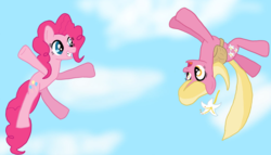 Size: 1024x586   Tagged: safe, artist:brokenhero0409, lily, lily valley, pinkie pie, earth pony, pony, cute, diapinkes, female, lilybetes, sky, skydiving, upside down