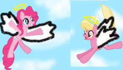 Size: 1024x586   Tagged: safe, artist:brokenhero0409, lily, lily valley, pinkie pie, pegasus, pony, angel, cute, diapinkes, female, flower, flying, halo, heaven, lilybetes, shocked, sky, smiling, wings