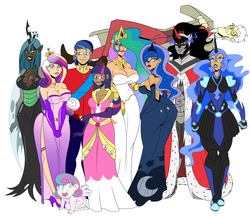Size: 3000x2600 | Tagged: artist:chillguydraws, big breasts, breasts, busty princess cadance, busty princess celestia, busty princess luna, busty queen chrysalis, busty twilight sparkle, clothes, discord, dress, female, human, humanized, king sombra, lipstick, milf, moonbutt, nightmare moon, princess cadance, princess celestia, princess flurry heart, princess luna, queen chrysalis, safe, shining armor, smiling, twilight sparkle