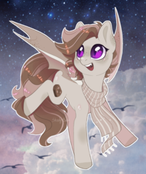Size: 1121x1333 | Tagged: safe, artist:shady-bush, oc, oc:toffee, bat pony, pony, clothes, female, mare, scarf, solo