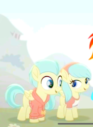 Size: 608x828 | Tagged: safe, edit, edited screencap, screencap, barley barrel, pickle barrel, rainbow dash, pegasus, pony, rainbow roadtrip, barrel twins, clothes, colt, cropped, female, filly, hoodie, male, shirt, siblings, twins