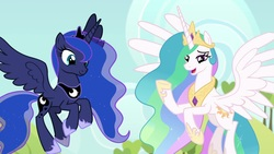 Size: 1920x1080 | Tagged: safe, screencap, princess celestia, princess luna, alicorn, pony, between dark and dawn, beautiful, chestplate, crown, cute, duo, ethereal mane, ethereal tail, eyeliner, female, flowing mane, flowing tail, flying, hoof shoes, jewelry, lidded eyes, looking down, lunabetes, makeup, mare, multicolored mane, multicolored tail, peytral, raised hoof, regalia, royal sisters, siblings, sisters, smiling, spread wings, starry mane, starry tail, sweet apple acres, talking