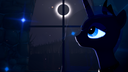 Size: 3840x2160 | Tagged: 3d, artist:twilighlot, darkness, eclipse, moon, night, pony, princess luna, safe, solo, window