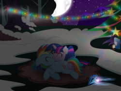 Size: 8000x6000 | Tagged: absurd res, artist:nightmaremoons, christmas, christmas tree, duo, female, holiday, kissing, lesbian, moon, night, pony, rainbow dash, safe, shipping, tree, twidash, twilight sparkle