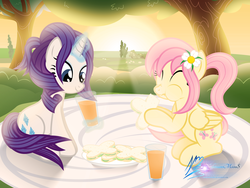 Size: 8000x6000 | Tagged: alternate hairstyle, artist:nightmaremoons, cute, female, flarity, flower, flower in hair, fluttershy, food, friendshipping, juice, lesbian, picnic, raribetes, rarity, safe, sandwich, shipping, shyabetes, sunset, tree