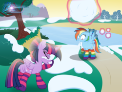 Size: 8000x6000 | Tagged: safe, artist:nightmaremoons, rainbow dash, twilight sparkle, alicorn, pegasus, pony, alternate hairstyle, butt, clothes, female, floppy ears, frown, gritted teeth, lesbian, levitation, magic, mare, nose wrinkle, plot, rainbow socks, scared, scrunchy face, shipping, show accurate, snow, snowball, snowball fight, socks, spread wings, striped socks, telekinesis, twidash, twilight sparkle (alicorn), wide eyes, wings