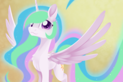 Size: 2340x1576 | Tagged: :3, alicorn, artist:dusthiel, cute, cutelestia, female, looking at you, mare, missing accessory, pony, princess celestia, safe, smiling, solo, spread wings, wings