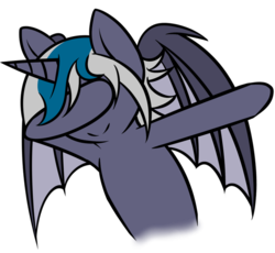 Size: 788x725 | Tagged: alicorn, alicorn oc, artist:vanorianagato, bat pony, bat pony alicorn, bat pony oc, dab, female, icey-verse, mare, oc, oc:elizabat stormfeather, oc only, pony, raised hoof, safe, simple background, solo, transparent background, wings