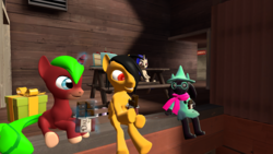 Size: 1920x1080 | Tagged: 2fort, 3d, artist:marianokun, birthday, birthday cake, cake, chocolate, food, happy, oc, oc:marianokun, oc:rito, oc:zoey gallade, pegasus, pony, present, ralsei, safe, source filmmaker, spanish description, table, team fortress 2, unicorn
