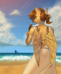 Size: 2000x2438 | Tagged: anthro, artist:klooda, beach, clothes, cloud, dress, eating, female, food, ice cream, looking at you, looking back, mare, oc, ocean, oc:soaring heart, pegasus, ponytail, safe, sand, solo, sunglasses, sunny, wave, wings, ych result