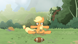 Size: 3840x2160 | Tagged: safe, artist:brutalweather studio, applejack, pony, american football, butthurt, derp, forest, landing, literal butthurt, lol, ponyville's incident, show accurate, smack, smack dat ass, sports, this is going to hurt, this will end in pain